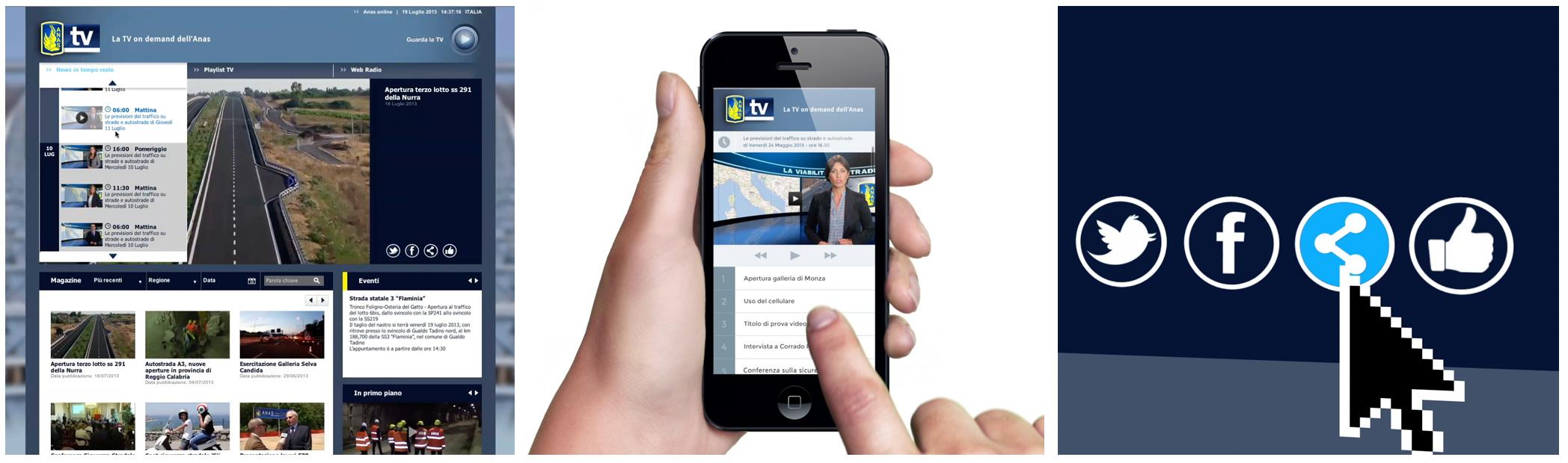 Funzionalità della webtv AnasTV, sharing sui siti e social network. Visualizzazione sui tutti i dispositivi e sui smartphone attraverso app dedicate per IOS e Android. Funzionalità della webtv AnasTV, sharing sui siti e social network. Visualizzazione sui tutti i dispositivi e sui smartphone attraverso app dedicate per IOS e Android.