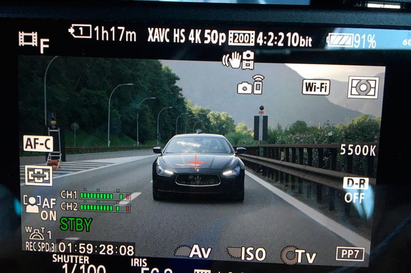 Riprese video di veicoli in movimento