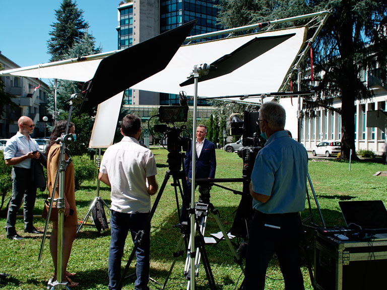 Video service crew for interviews in Italy